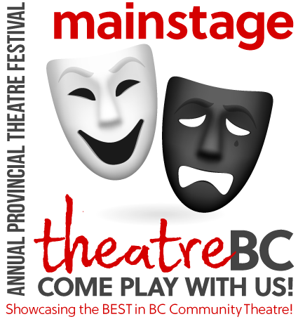 Comedy and Tragedy masks, with text: mainstage, theatreBC Come Play with Us! Annual Provincial Theatre Festival