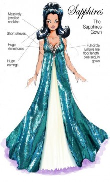 Sketch of costume from musical 'The Sapphires'