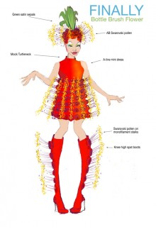 Illustration of the Bottle Brush Flower Costume for the Musical Number 'Finally'