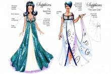 Sketches of costumes from musical 'The Sapphires'
